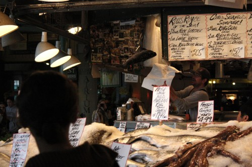 Catching Fish in Pike's Market Seattle
