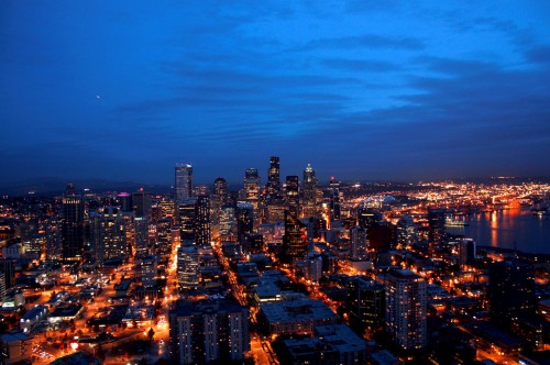 Skyline Seattle at Night from the Space Needle