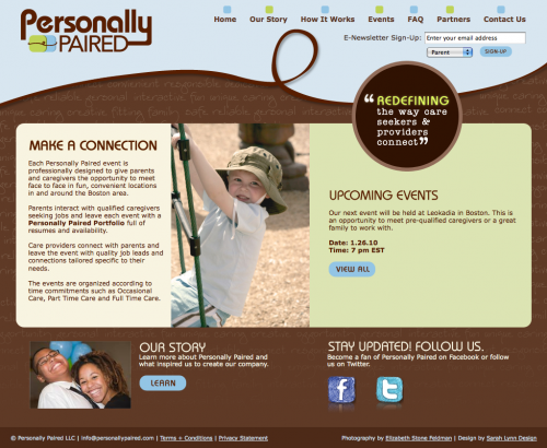 Personally Paired | Homepage Design