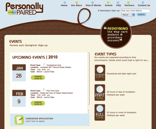 Personally Paired | Events Page Design