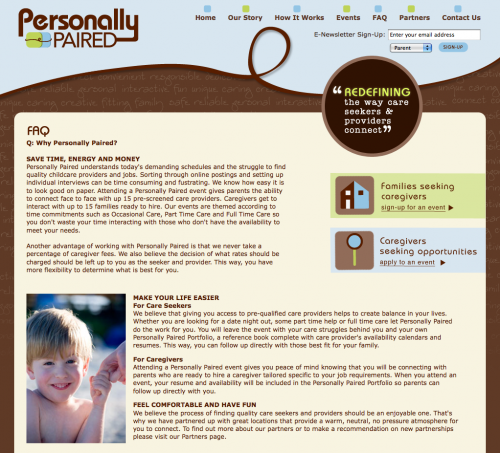 Personally Paired | FAQ Page Design