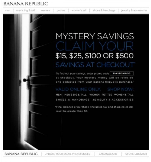Banana Republic Mystery Savings Email