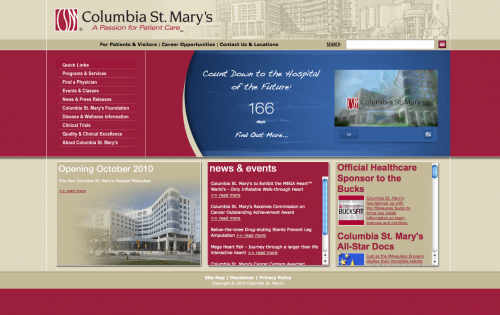 Columbia St. Mary's | Healthcare Web Design