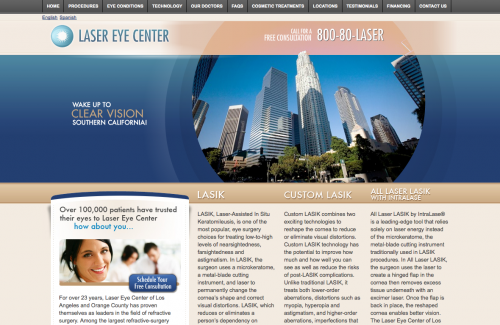 Laser Eye Center | Eye Care Web Design