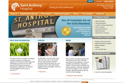 Saint Anthony Hospital | Web Design