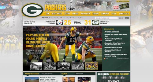 Packers Super Bowl Website Homepage
