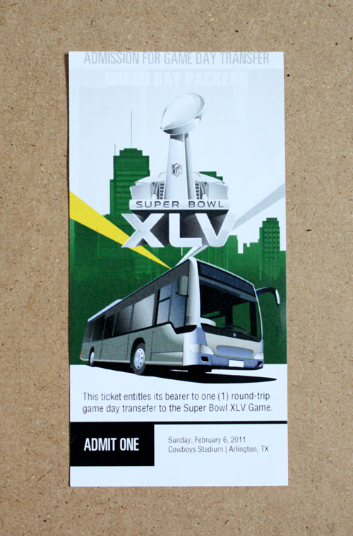 Packers Bus Ticket Super Bowl 45