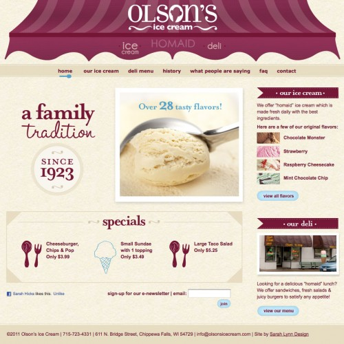 Olson's Ice Cream Homepage