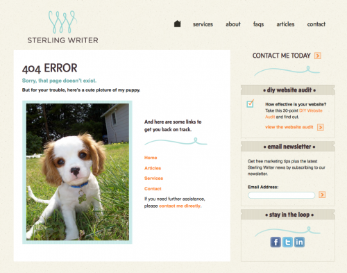 404 Error Page - Sterling Writer