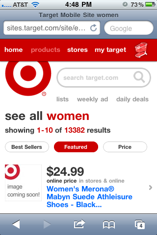 Target Mobile Product Listing Page Design