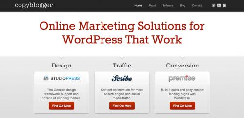 Copyblogger - Focused Homepage Design