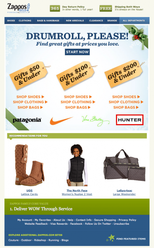 Zappos Email Design Holiday
