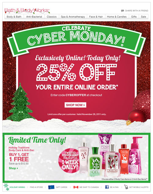 Bath and Body Works Email Design