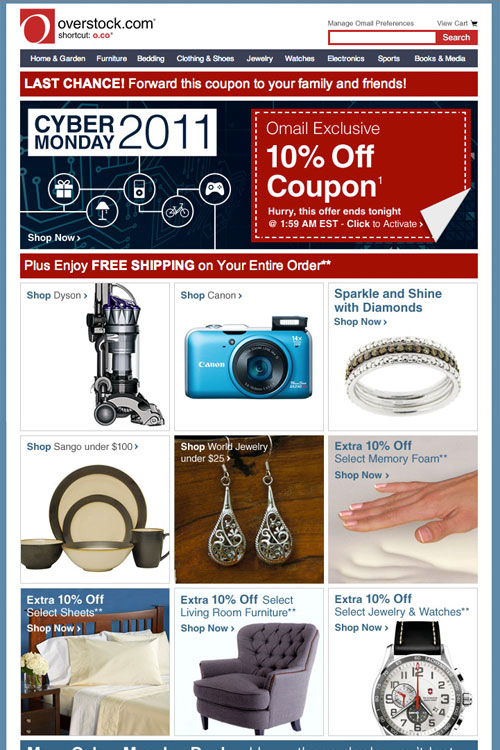 Overstock Email Design