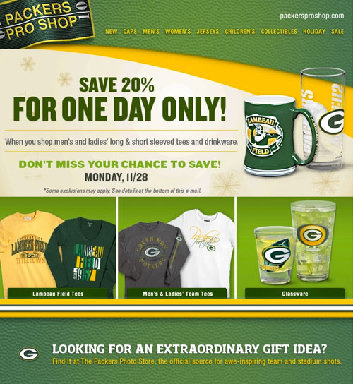 Packers Pro Shop Email Design