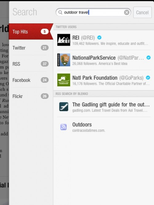 Flipboard App Search Design