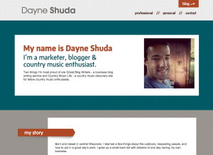Dayne Shuda Personal Website Design