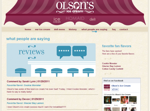 Olsons Ice Cream Product Page
