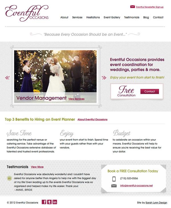Eventful Occasions Website Design Eau Claire