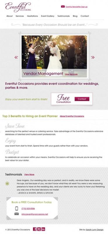Eventful Occasions Tablet Website - Eau Claire