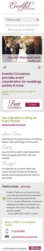 Eventful Occasions Mobile Website - Eau Claire