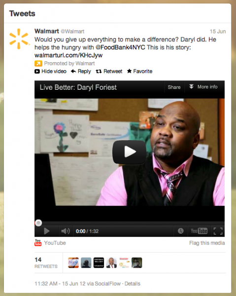 Live Better Story - Walmart Tweet