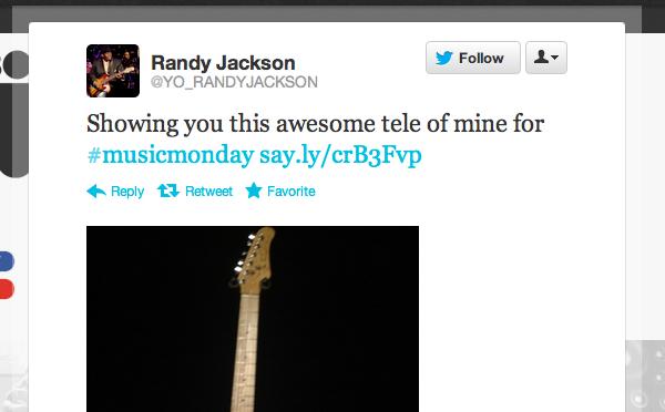 Randy Jackson #MusicMonday Tweet
